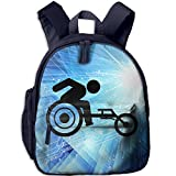 Small School Backpack Printed With Wheelchair Racing For Kindergarten Boys Girls Navy