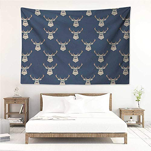 Deer,Tapestries for Sale Hipster Inspired Deer with Antlers Glasses Mustaches Funny Animal Pattern Vintage 91W x 60L Inch Mattress, Tablecloth Slate Blue -