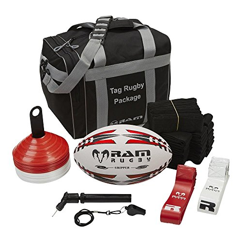 (Ram Rugby Tag Rugby Bundle (Small) - Includes 20 Belts with Flags, 1 Pro Training Ball, 1 Ball Pump, 1 Whistle, 15 Red Cones, 15 White Cones, and Carry Bag)
