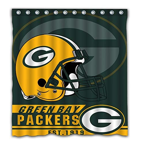 Felikey Custom Green Bay Packers Waterproof Shower Curtain with Color Bathroom Decoration Size of 66x72 Inches