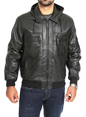 negro cazadora A1 hombre Fashion cl Sudadera para de Goods con cuero capucha en aviador Iqxwzv