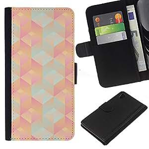 iBinBang / Flip Funda de Cuero Case Cover - Patrón 3D Polígono Peach Pink Teal - Sony Xperia Z4