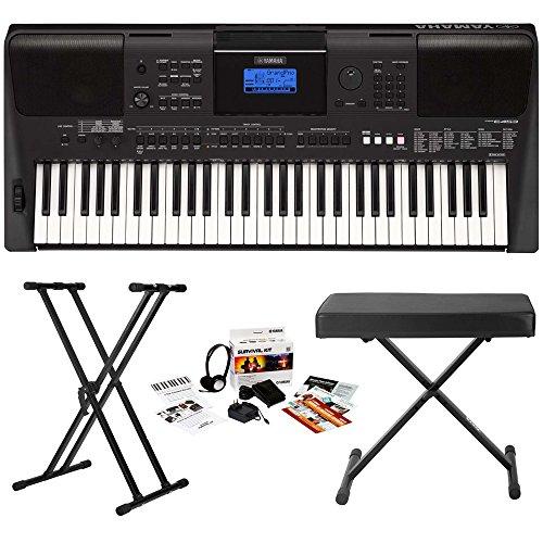 Yamaha PSR-E453 61-Key Touch Response Portable Keyboard w/ Yamaha Survival Kit & Knox Stand/Bench by Yamaha