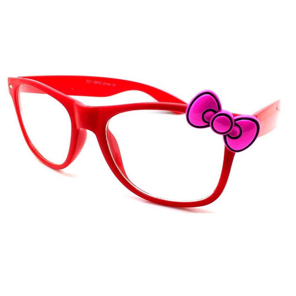 Occhiali neutri KISS® - WAYFARER stile HELLO KITTY - montatura da vista DONNA cool fashion - NERO / Rosso 0krQu