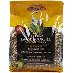 Sunseed Vita Prima Sunscription Lg Hookbill Pet Bird Food, Safflower High-Variety Formula - 4.5 Lbs Size