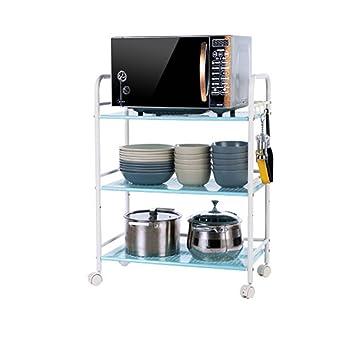 Estante para horno de microondas para carro con 3 estantes para cocina | Estante de organización