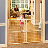 """Quick-Fit Wire Mesh Gate"" by North States: Hassle-free rachet system for quick custom fit - Ideal for wider openings. Pressure mount. Fits openings 29.5"" to 50"" wide (32"" tall, Sustainable hardwood)"