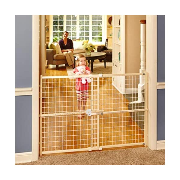 North States 50″ Wide Quick-Fit Wire Mesh Baby Gate: Hassle-free rachet system for quick custom fit. Pressure mount. Fits 29.5″-50″ wide (32″ tall, Sustainable Hardwood)