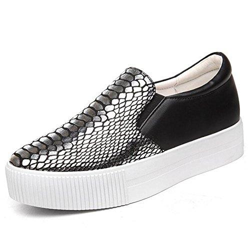Zapatos de Mujer Spring Fall New Loafers, Slip en la Parte Inferior Gruesa Ocasional en los Zapatos, Zapatos de la Marea de la Mujer en la Boca Poco Profunda Un