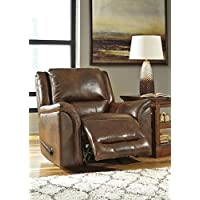 Ashley Furniture Signature Design - Jayron Rocker Recliner - Pull Tab Manual Reclining - Contemporary - Harness Brown