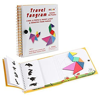 Coogam Travel Tangram Puzzle - Road Trip Games for Kids Magnetic Tangoes Jigsaw Shapes Dissection Games with Solution for Kid Adult Challenge - IQ Book Educational Toy Gift Brain Teasers 360 Patterns