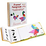 Coogam Magnetic Travel Tangram Puzzles Book Game Tangrams Jigsaw Shapes Dissection with Solution for Kid Adult Holiday Traveler Tangoes Challenge IQ Educational Toy (360 Patterns)