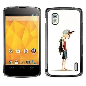 GOODTHINGS Funda Imagen Diseño Carcasa Tapa Trasera Negro Cover Skin Case para LG Google Nexus 4 E960 - chico sombrero monopatín deporte arte de la pintura