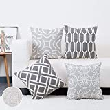 baibu Embroidered Throw Pillow Cover 4PCS/Set, 100% Cotton Decor Sofa Throw Pillow Case Grey Square Cushion Cover for Couch Sofa 18x18 inch