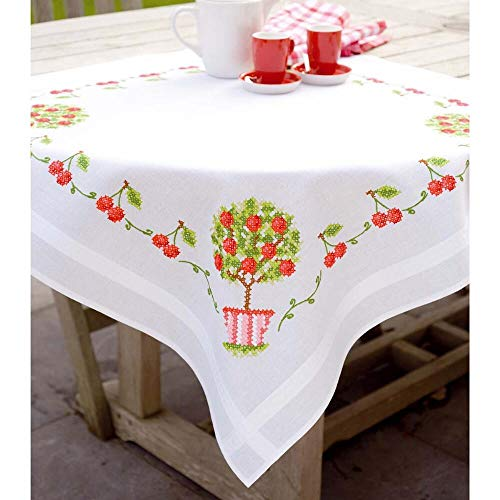 (Vervaco Cherries Tablecloth Stamped Cross-Stitch Kit)