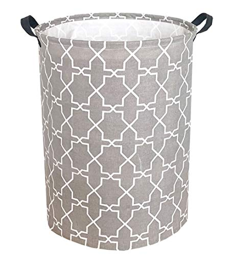"""Sanjiaofen 19.7"""" Large Laundry Hamper Bucket Waterproof Coating Storage Bin Collapsible Washing Basket Home Nursery Toy Organizer,Canvas Storage Basket with Stylish Design(Grey Polygon) - MATERIAL:Made of linen & cotton fabric and PE waterproof coating inner 【SIZE】19.7""""(H)×15.11""""(D)inches 【STYLISH DESIGN】Our storage basket design with cartoon pattern,very cute and fashion,it will be great gift for kids and women - laundry-room, hampers-baskets, entryway-laundry-room - 51JxH51S6WL -"""