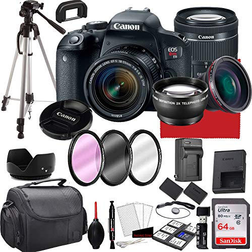 Canon EOS Rebel T7i DSLR Camera with 18-55mm f/4-5.6 is STM Zoom Lens, 64GB Memory,Case, Tripod and More (28pc Bundle)