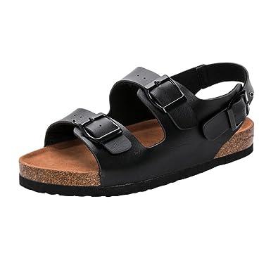 Damen Sandalen Flache Sandaletten Bequemschuh Pantoletten Schuhe Comfort  Schlappen Hausschuhe Sandalen Kork Schlappen Latschen 35 schwarz
