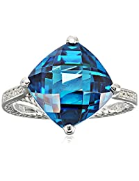Sterling Silver Rope Dark Aquamarine and White Cubic Zirconia Ring