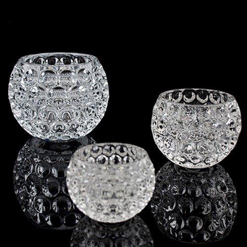 Crystal Candle Holder. set of 6 (bowl shape clear) (Bowl Candle Set)
