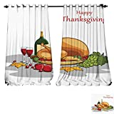 DESPKON-HOME Thermal Insulated Grommet Blackout Curtains Happy Thanksgiving Wallpaper background3 for Bedroom -W84