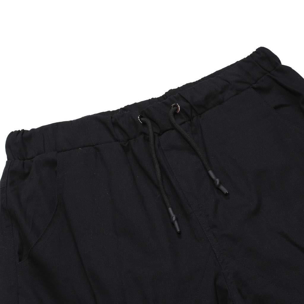 Pantalones Cortos para Hombre Verano Cargo Shorts Bermuda Deporte Short Pantal/ón Sweatpant Gym Leisure El/ástico Regular ZOELOVE Moda de Color s/ólido Vendaje Multi-Bolsillo