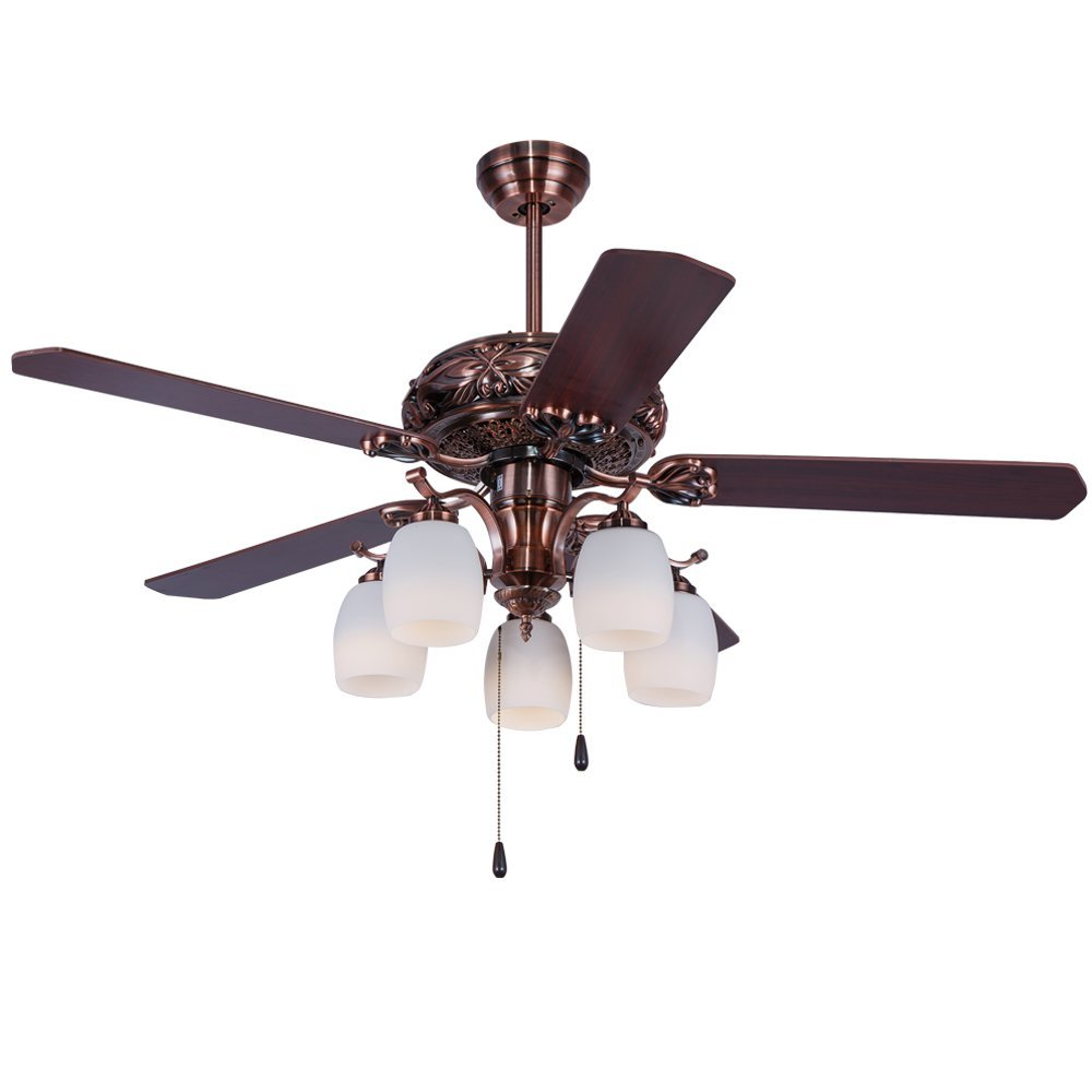 Andersonlight 52'' Ceiling Fan Light 5 Fan Wood Blade 5 Light Rope Control Variable Speed Motor Glass Lamp Cover Modern Quiet Health for Indoor/Outdoor Oil-Rubbed Bronze FS030