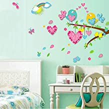 Heartshape Birds Tree Rainbow Wall Decal Home Sticker Paper Removable Living Room Bedroom Art Picture DIY Mural Girls Boys kids Nursery Baby Playroom Decoration + Gift Colorful Butterflies