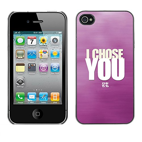 DREAMCASE Citation de Bible Coque de Protection Image Rigide Etui solide Housse T¨¦l¨¦phone Case Pour APPLE IPHONE 4 / 4S - I CHOSE YOU - JOHN 15:16