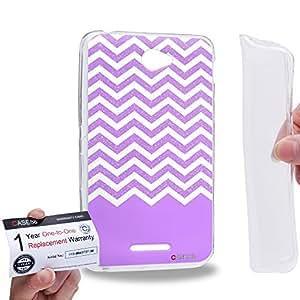 Case88 [Sony Xperia E4 / E4 Dual] Gel TPU Carcasa/Funda & Tarjeta de garantía - Art Fashion Violet Glitter Chevron