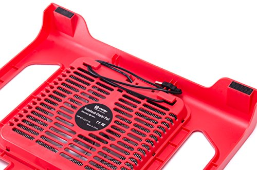 PWR+ [Limited Edition] 16'' PwrPad with 140mm Silent Fan for Apple, Acer, Asus, Dell, Hp, Lenovo, Samsung, Sony, Toshiba and others Laptop Notebook Cooling Pad Bed Lap LED Red by PWR+ (Image #2)