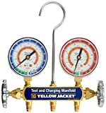 """Yellow Jacket 41332 Manifold Only with 2-1/2"""" Steel Case Gauges, bar/psi, R-134A/404A/407C"""