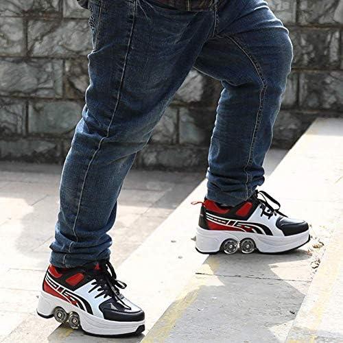 Fbewan Double-rangée Déformer Roue Invisible Deformation roulettes Chaussures Automatique Marche Invisible Patins Poulie mâle et Femelle Adulte Patinage pour Enfants
