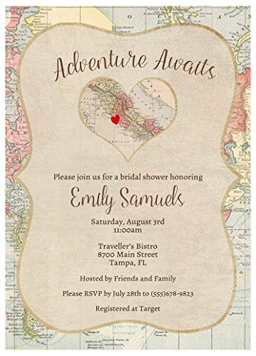 Adventure Awaits Bridal Shower Invitations Love Beings Here Let The Journey Begin Map Heart Destination Wedding Party Honeymoon Customize City Baby (10 Count) ()