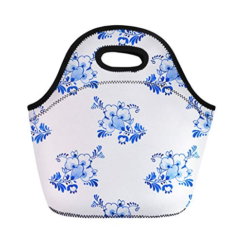 Semtomn Neoprene Lunch Tote Bag Watercolour Delft Blue Traditional Dutch Floral Flowers and Buds Reusable Cooler Bags Insulated Thermal Picnic Handbag for Travel,School,Outdoors,Work
