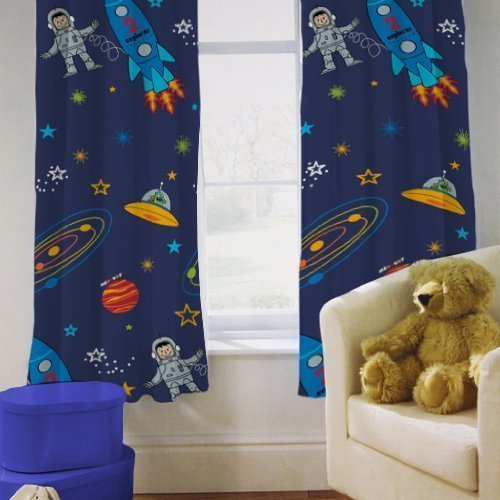 Shopisfy Children's Toddler Bedroom Nursery Colourful Printed Bedding, Curtain Pair 66 x 54' - Space Boy