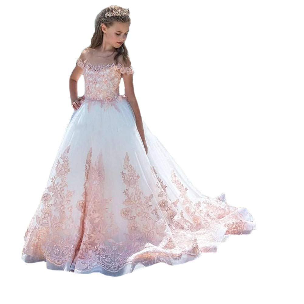 QueenBridal 2018 Pink Lace Appliques Flower Girl First Communion ...