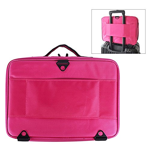 FLYMEI Professional Makeup Case 3 Layer Cosmetic Organizer 16'' Make Up Artist Storage with Shoulder Strap and Adjustable Divider, Pink by FLYMEI (Image #6)