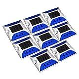 uxcell® 8pcs LED Solar Road Stud Light Marker Lighting Security Warning Lamp 6LED Blue
