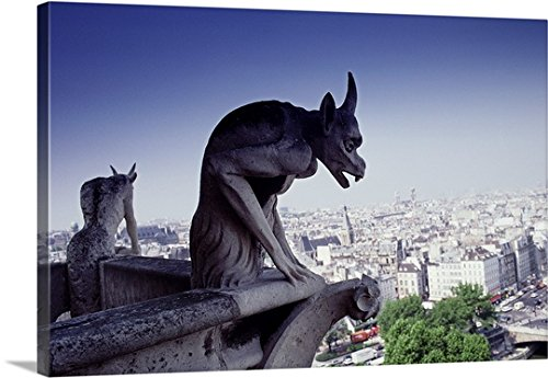 Great BIG Canvas Gallery-Wrapped Canvas entitled Gargoyle, View from Notre Dame, Paris by greatBIGcanvas