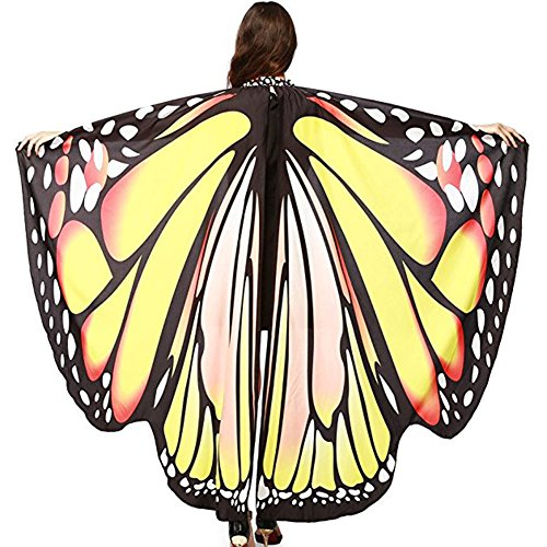 (Etaclover Adult Printing Chiffon Cape Butterfly Cloak Halloween Hooded Poncho Multi Use for)
