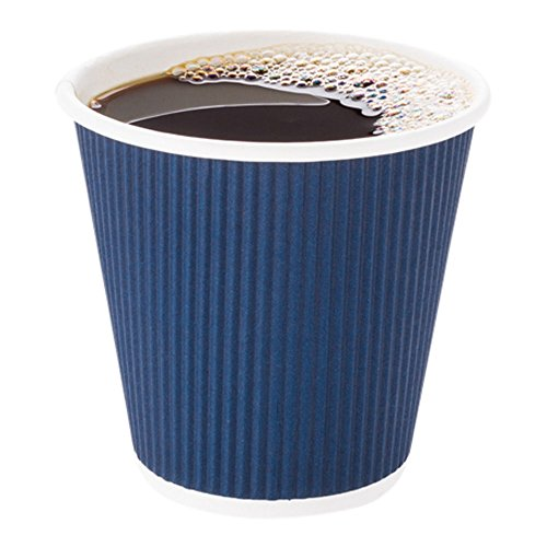 Disposable Paper Hot Cups - 500ct - Hot Beverage Cups, Paper Tea Cup - 8 oz - Midnight Blue - Ripple Wall, No Need For Sleeves - Insulated - Wholesale - Takeout Coffee Cup - (Coffee Hot Beverage)