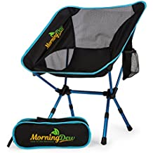 Foldable Camping Chair By MorningDew: Lawn Chair With 2 Side Pockets, Height Adjustable, Anti-Slip Feet, Easy To Set Up, Ideal For Festivals, Picnics, The Beach, Lightweight With Carry Bag