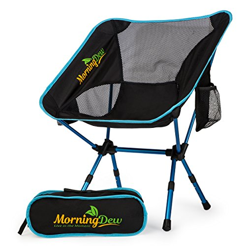 MorningDew Foldable Camping Chair By Lawn Chair With 2 Side Pockets, Height Adjustable, Anti-Slip Feet, Easy To Set Up, Ideal For Festivals, Picnics, The Beach, Lightweight With Carry Bag (sky blue)