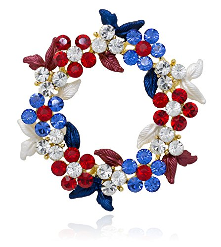 Akianna-Gold-tone-Swarovski-Element-Crystals-Wreath-Pin-Brooch-Patriotic-Red-White-Blue