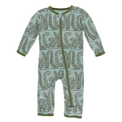 Kickee Pants Little Boys and Girls Print Coverall with Zipper - Shore Ferns, 0-3 Months