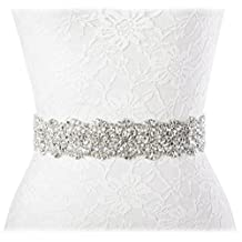 Redowa Wide Rhinestone Pearl Wedding Dress Bridal Sash Belt