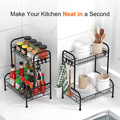 Spice Racks, 2 Tier Spice Rack, Standing Spice Rack Kitchen Bathroom Countertop Storage Organizer with 6 Hooks, Stainless Steel Spice Bottle Jars Rack Holder