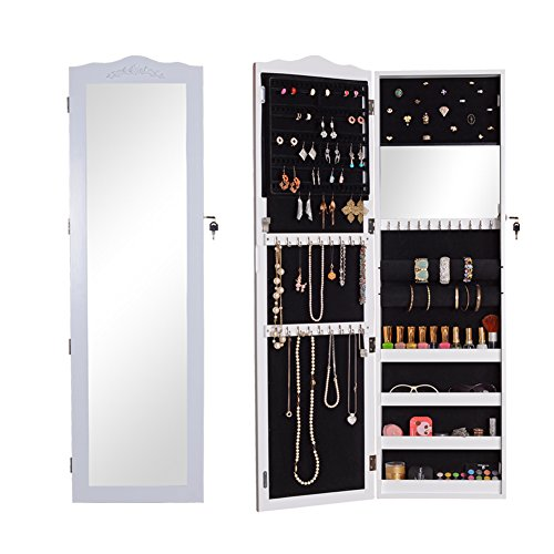 GLS White Wall Door Mount Locking Mirrored Jewelry Armoire Makeup Cabinet Wooden
