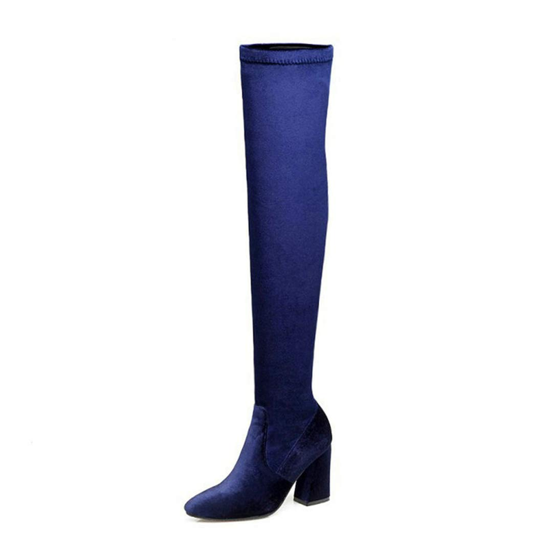 bluee Saborz Womens Velvet Fashion Side Zipper Over The Knee Boots High Heels for Woman Thigh High Boots